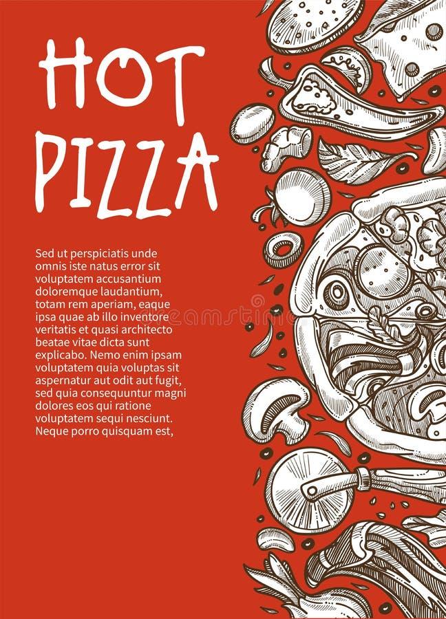 烹调成份剪影的热的比萨海报比萨店餐馆或咖啡馆 库存例证