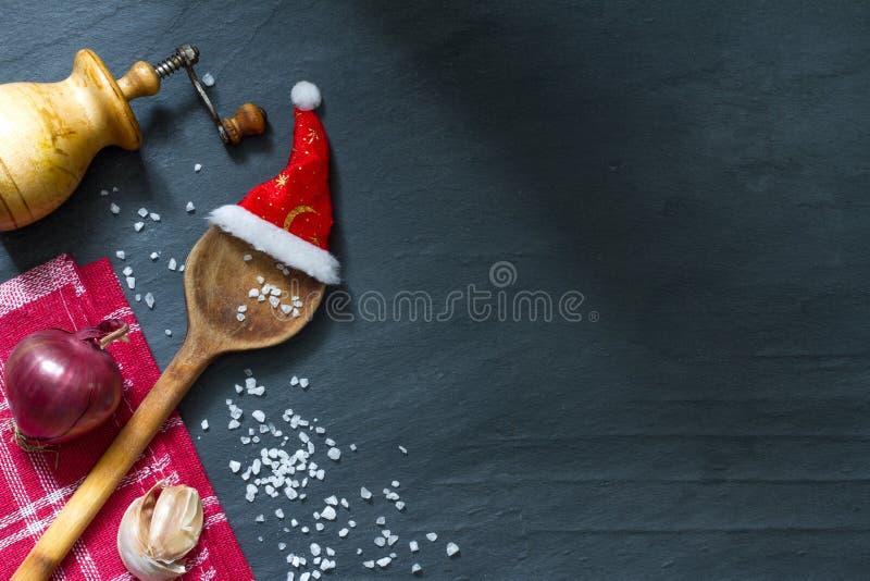 烹调抽象食物背景的圣诞节 免版税库存照片