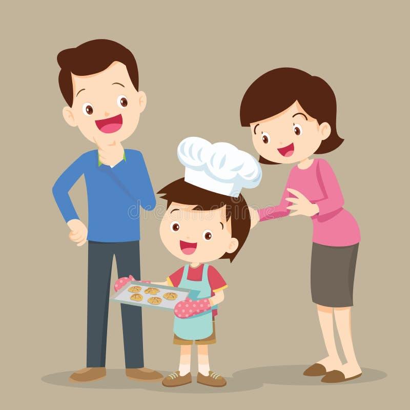 烹调曲奇饼的孩子 库存例证