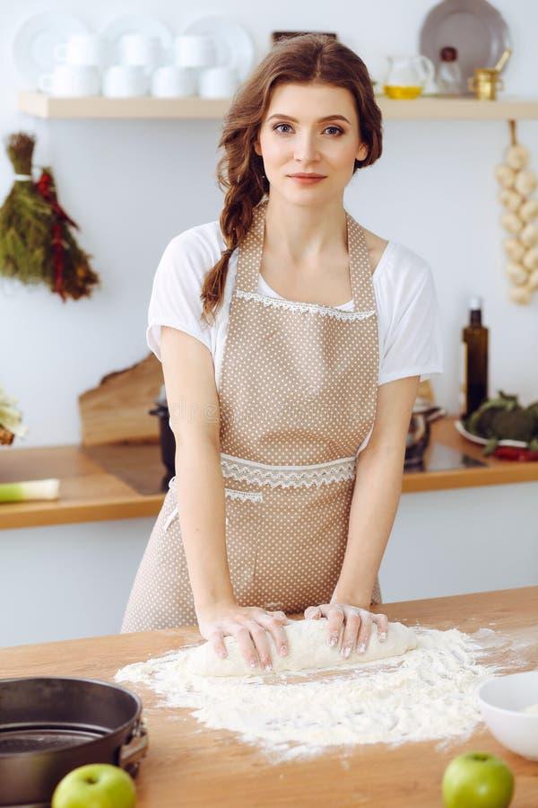 烹调比萨或手工制造面团的年轻深色的妇女在厨房里 准备在木桌上的主妇面团 ?? 库存照片