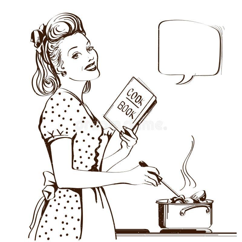 烹调汤的减速火箭的少妇在她的厨房室 传染媒介graphi 库存例证