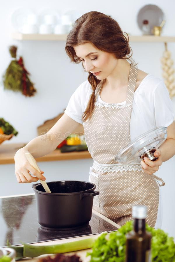 烹调汤的年轻深色的妇女在厨房里 主妇在她的手上的拿着木匙子 o 图库摄影