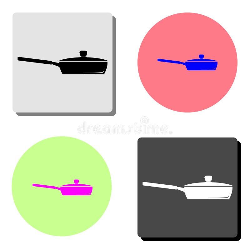 烹调油煎查出的平底锅白色的设备 平的传染媒介象 向量例证