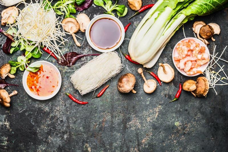 烹调泰国或中国烹调的可口亚洲人成份 库存照片