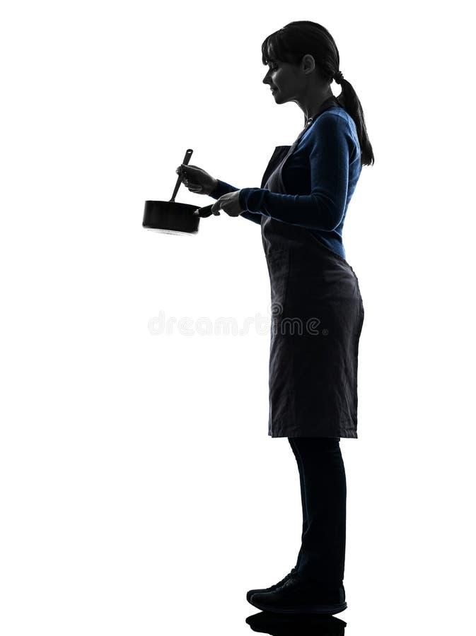 烹调混合的平底深锅剪影的妇女 库存照片