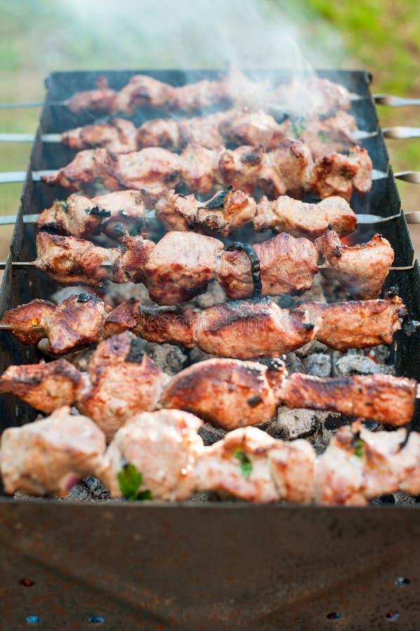 烹调烤肉或shashlik在唾液 野餐周末 室外 库存照片