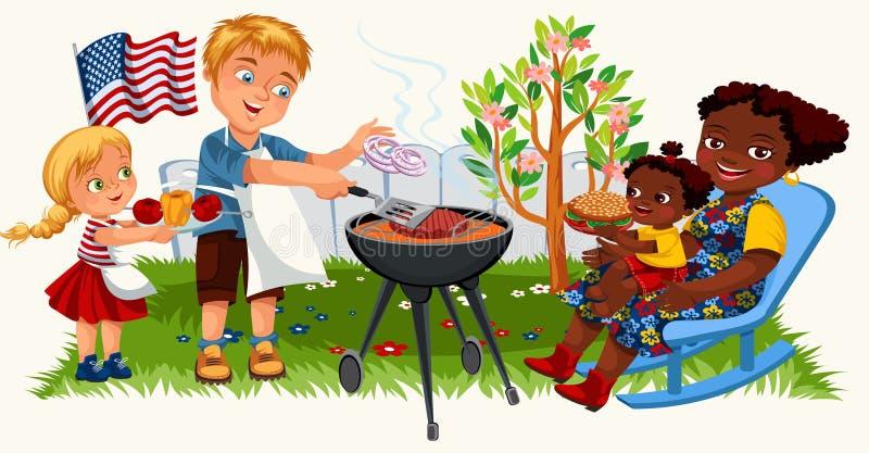烹调烤肉的愉快的美国家庭户外在家 库存例证