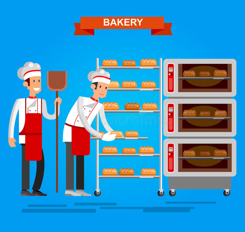 烹调烹调面包象面包店背景平的设计vec的面包师 库存例证
