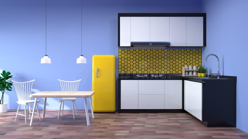 烹调现代食物餐馆3d的厨房内部回报与灯桌和椅子家庭backg的白色现代设计木地板 库存例证