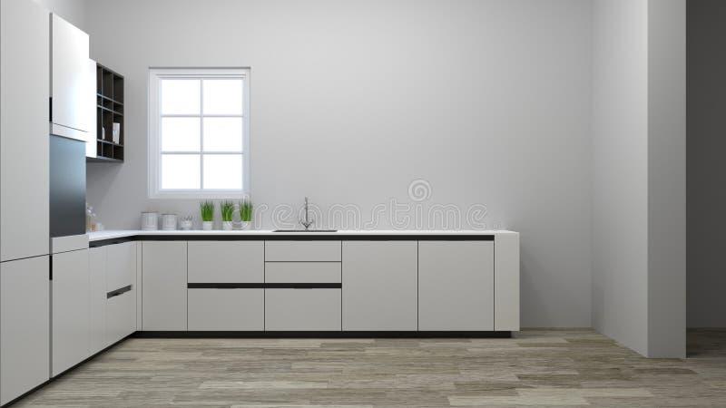 烹调白色桌,拷贝空间背景的现代食物餐馆3D例证家设计的厨柜内部 库存例证