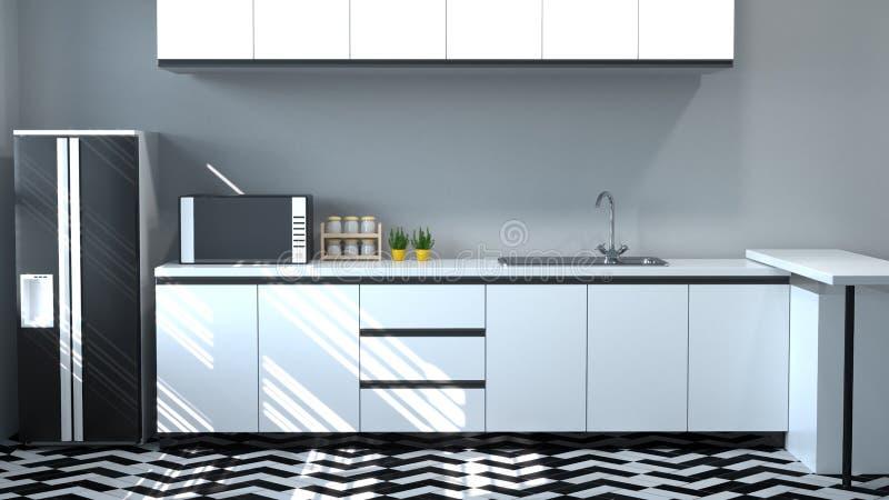 烹调白色桌,拷贝空间背景的现代食物餐馆3d翻译家设计的厨柜内部 皇族释放例证