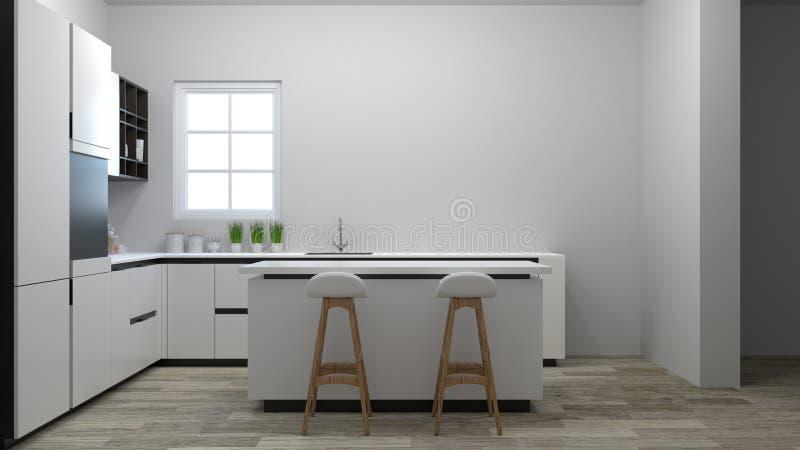 烹调白色桌,椅子,拷贝的灯现代食物餐馆3d例证白色roomhome设计的厨房内部间隔  库存例证