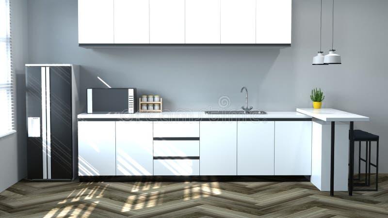 烹调白色桌,椅子,灯,拷贝空间背景的,家庭des现代食物餐馆3d翻译家设计的厨房内部 皇族释放例证