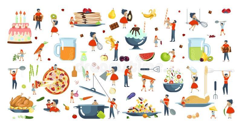 烹调的幸福家庭一起设置 向量例证