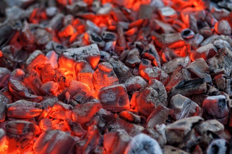 烹调的烤肉发光的热的红色炭烬 库存照片