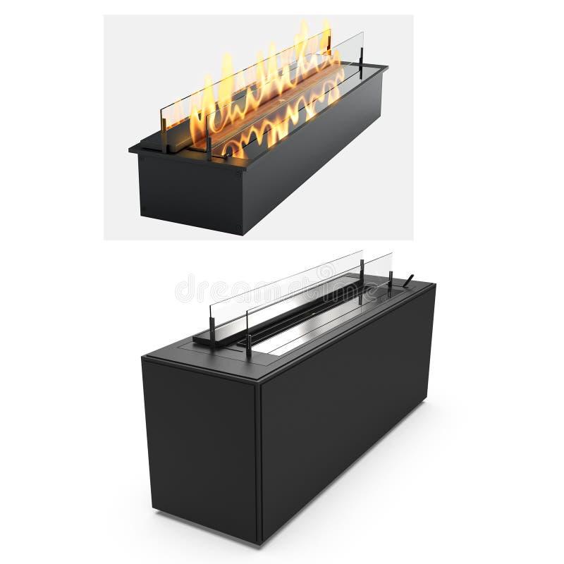 烹调的肉格栅在开火 向量例证