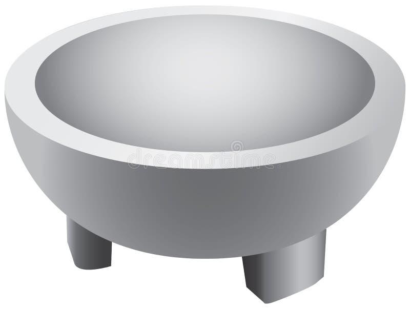 烹调的陶瓷灰浆在立场 向量例证