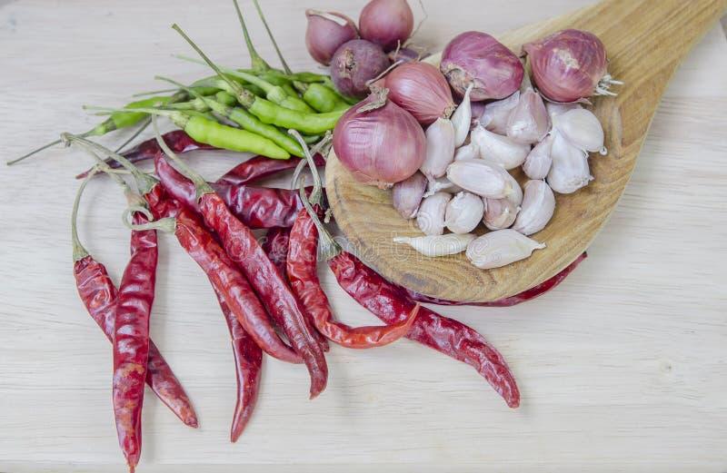 烹调的香料吃胡椒食物大蒜 图库摄影