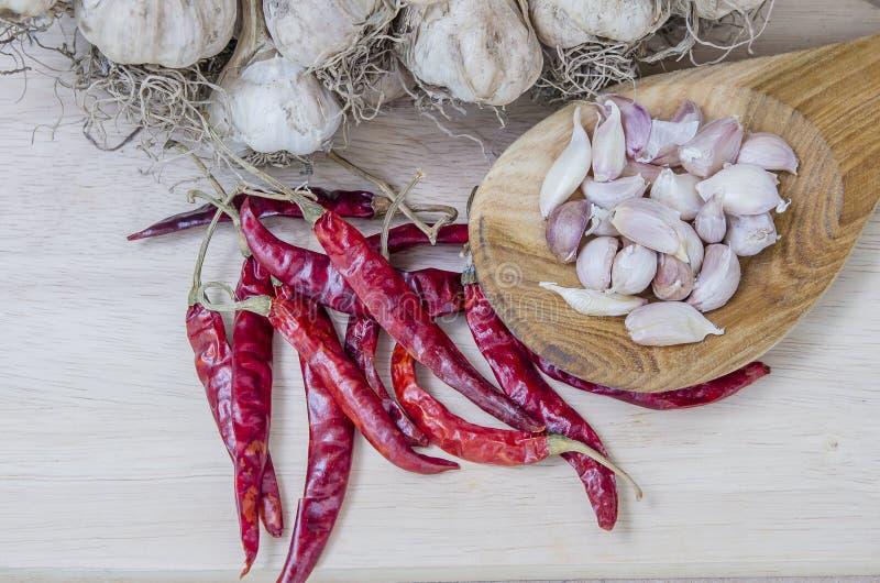 烹调的香料吃胡椒食物大蒜 库存图片