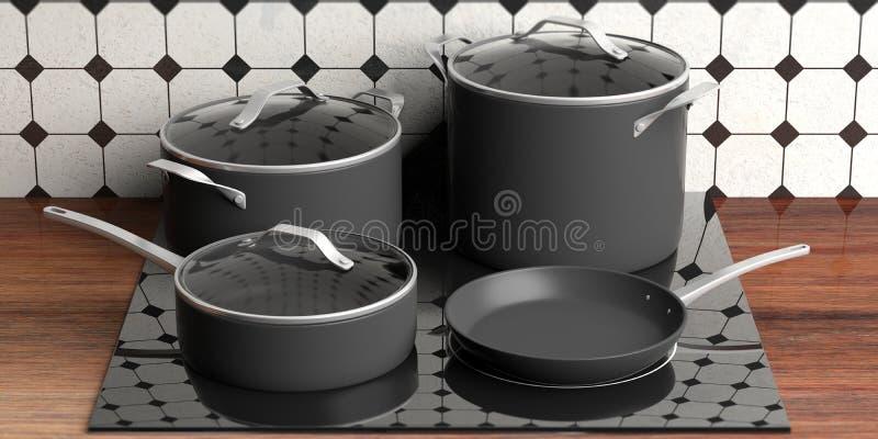 烹调罐和煎锅在电火炉,厨台上面的套黑各种各样的大小 3d例证 皇族释放例证