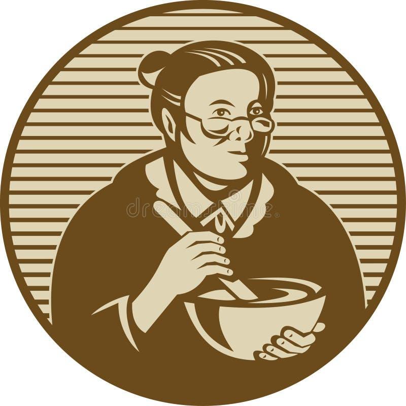 烹调老婆婆混合的碗 皇族释放例证