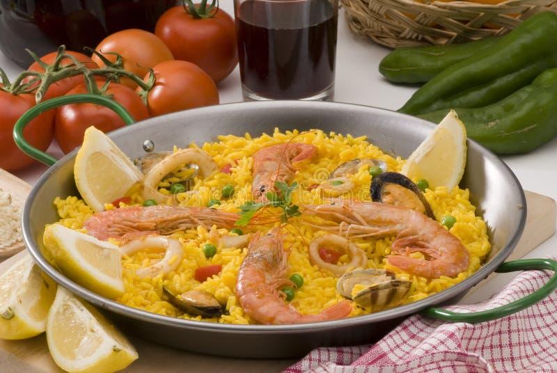 烹调肉菜饭米西班牙语 库存图片