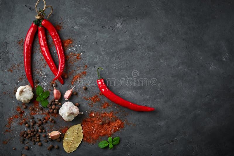 烹调背景用辣椒、大蒜和香料的食物在黑暗的石桌上 免版税库存图片