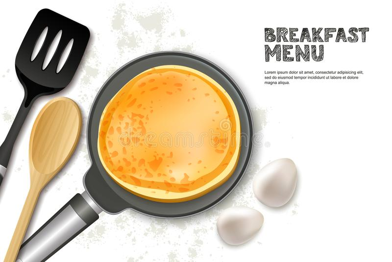 烹调薄煎饼传染媒介例证 在白色背景和成份隔绝的顶视图现实平底锅、小铲 库存例证