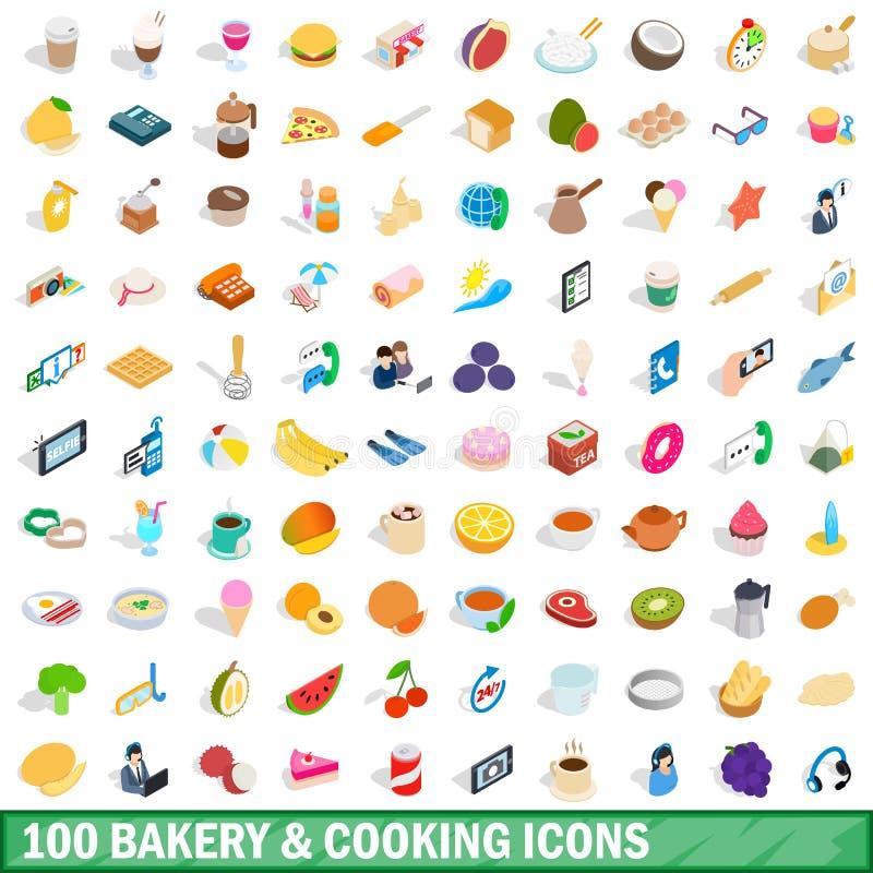 100烹调象的面包店设置了,等量3d样式 皇族释放例证