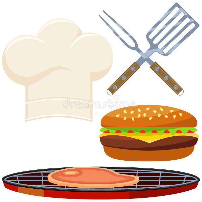 烹调集合的五颜六色的动画片汉堡 库存例证