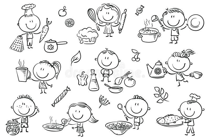 烹调集合的孩子 库存例证
