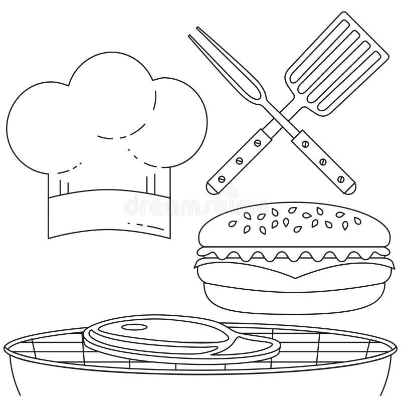 烹调集合的线艺术黑白汉堡 向量例证