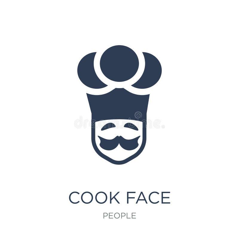 烹调面孔象 在白色backg的时髦平的传染媒介厨师面孔象 皇族释放例证