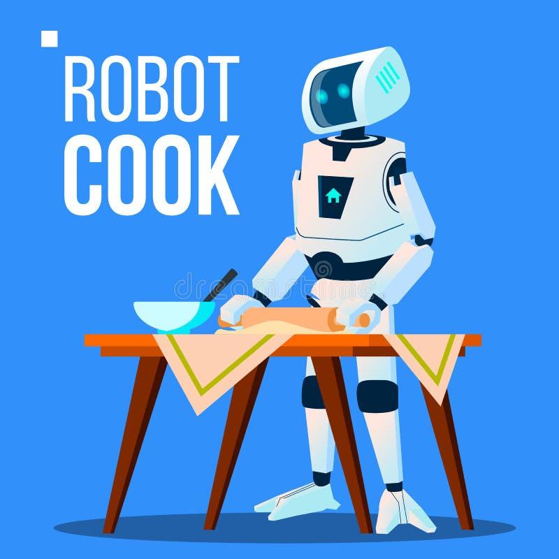 烹调食物传染媒介的机器人厨师 按钮查出的现有量例证推进s启动妇女 向量例证