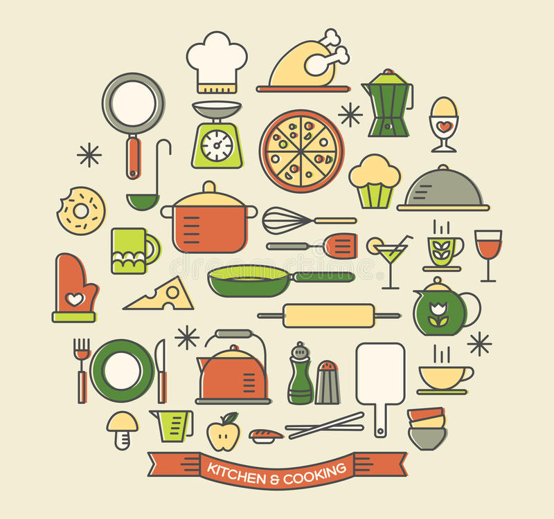 烹调食物和厨房被设置的颜色象 库存例证
