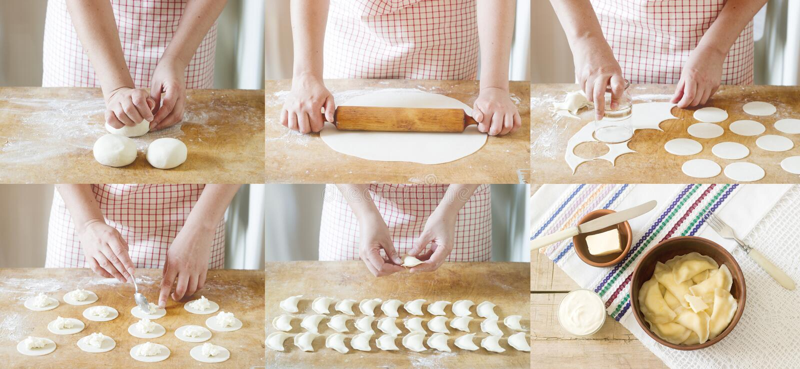 烹调饺子的妇女 照片拼贴画与vareniki的生产的 土气样式,选择聚焦 图库摄影