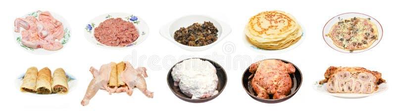 烹调鸡阶段,被充塞的薄煎饼 库存照片