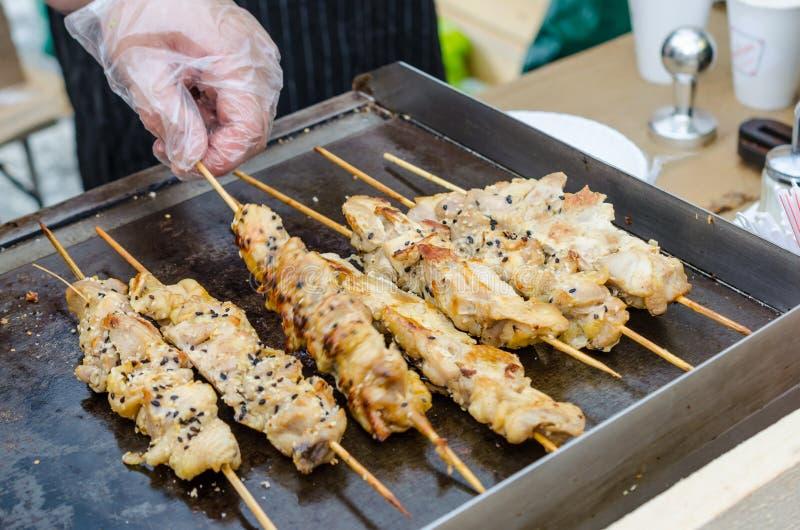 烹调鸡kebab 食物节日 图库摄影