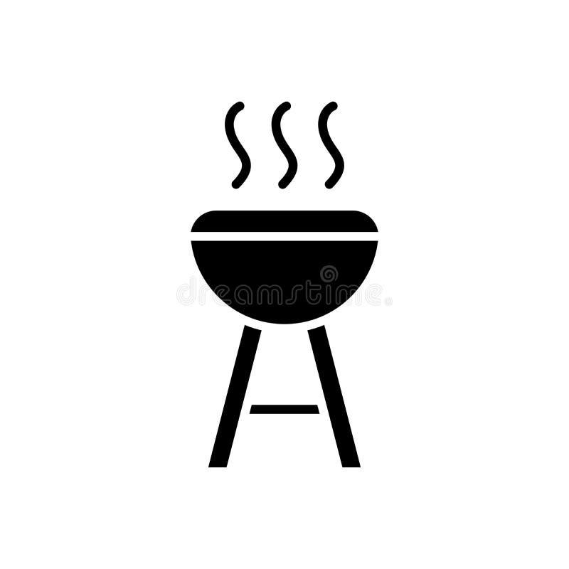 烹调黑象概念的Open fire 烹调平的传染媒介标志,标志,例证的Open fire 库存例证