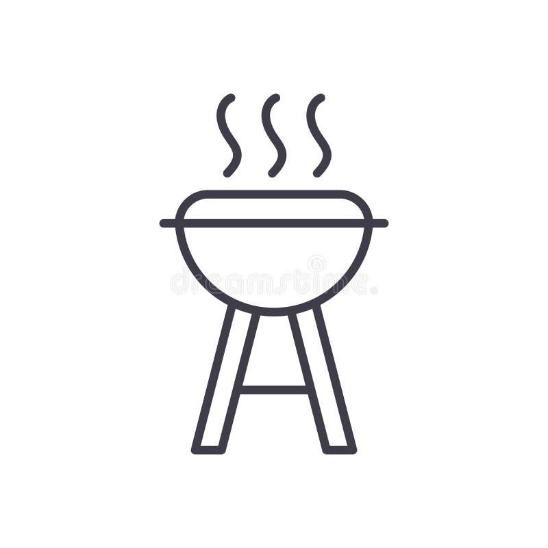 烹调黑象概念的Open fire 烹调平的传染媒介标志,标志,例证的Open fire 向量例证
