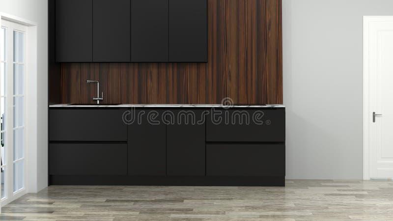 烹调黑颜色现代食物餐馆3d例证白色roomhome设计背景最小的拷贝空间的厨房内部 皇族释放例证