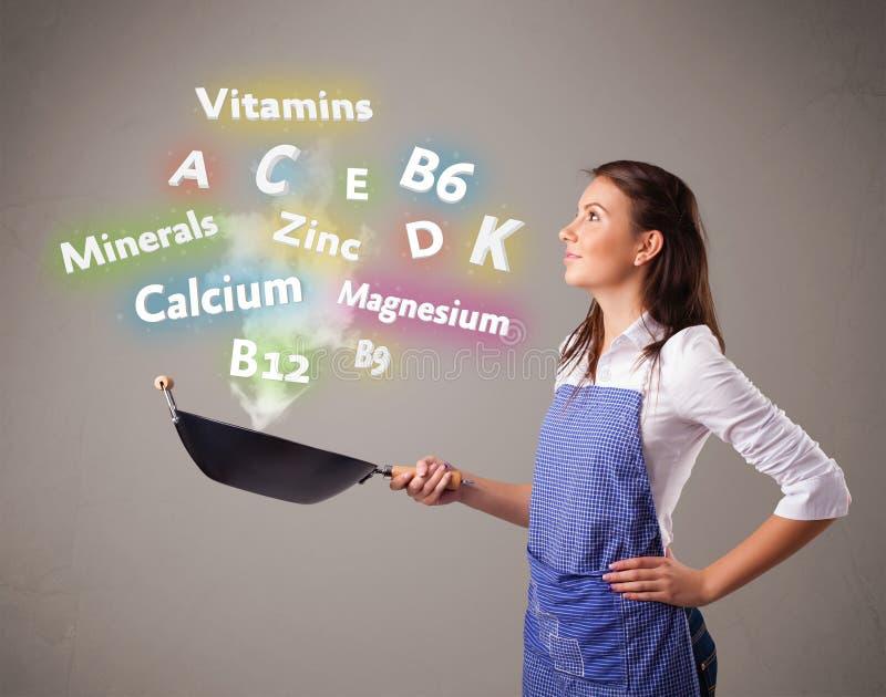 Download 烹调维生素和矿物的少妇 库存照片. 图片 包括有 相当, 厨师, 健康, bohr, 矿物, 食物, 概念 - 62526510