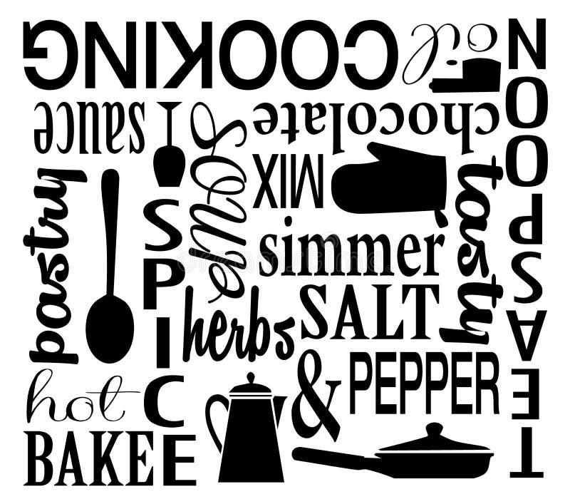 烹调主题的词艺术传染媒介拼贴画 免版税库存图片