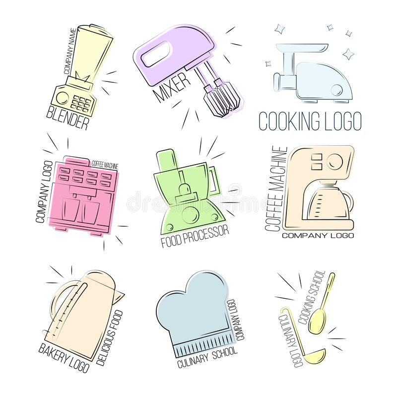 烹饪图标集 Kitchen logo design templates element 库存例证