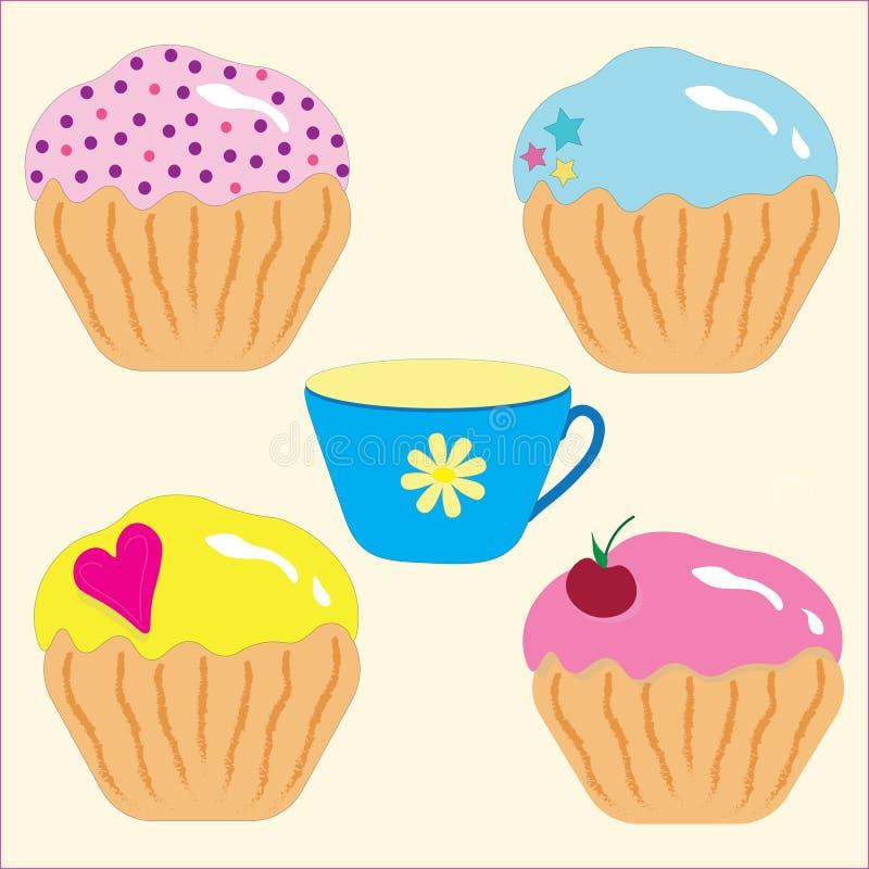 烹饪拉长的套点心、各种各样的杯形蛋糕和一杯茶,复活节蛋糕 库存例证