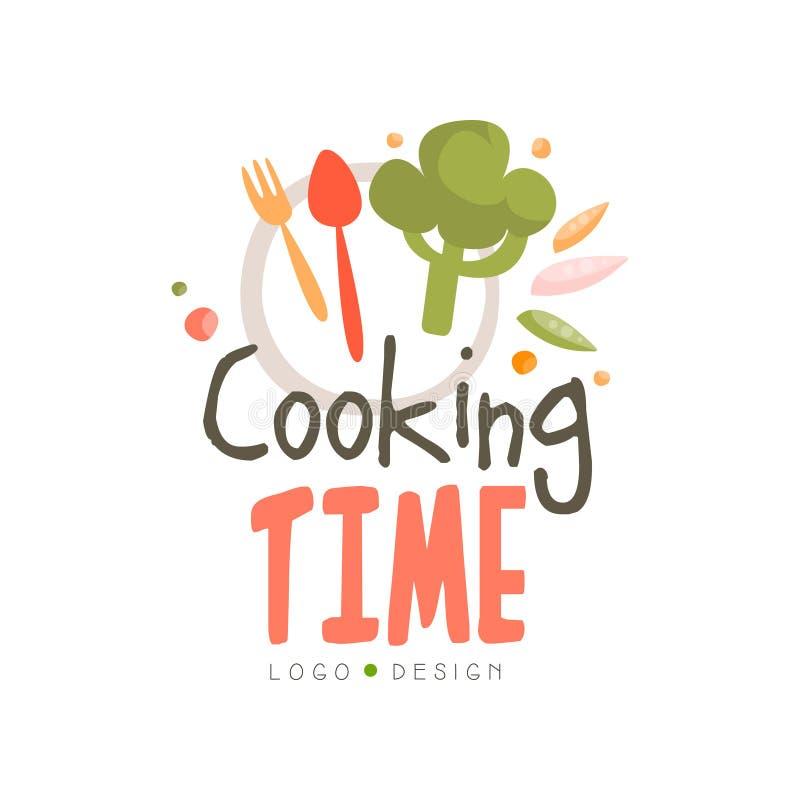 烹饪时间商标设计,手拉的徽章可以为烹饪类,路线,学校在白色的传染媒介例证使用 库存例证