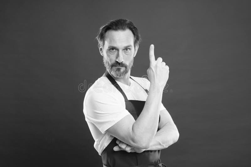 烹饪是激情 男成熟厨师摆姿势烹饪围裙 精制食谱 创意和提示 首席厨师兼专业 库存照片