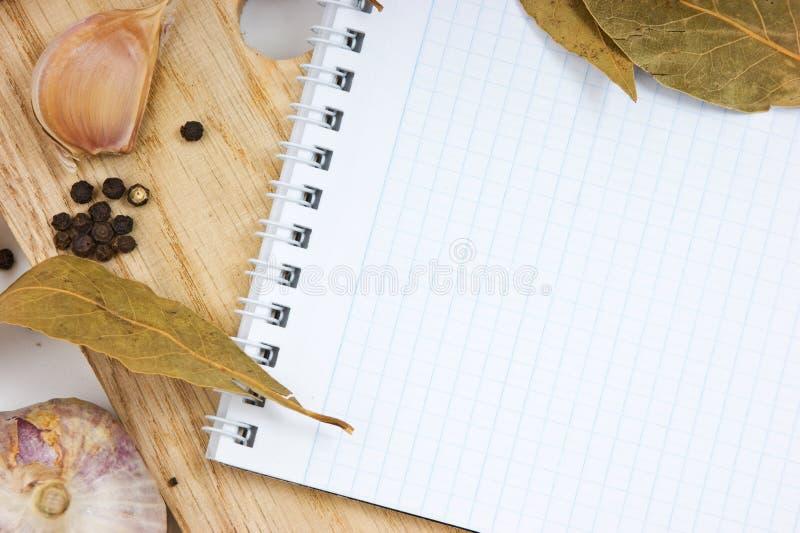烹饪笔记本食谱 免版税库存图片