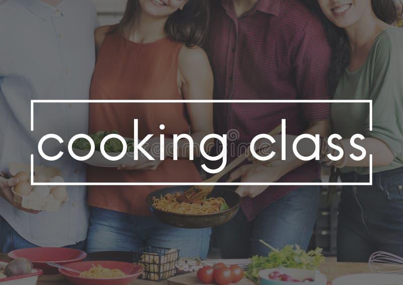 烹饪课烹调烹饪承办酒席厨师概念 免版税图库摄影