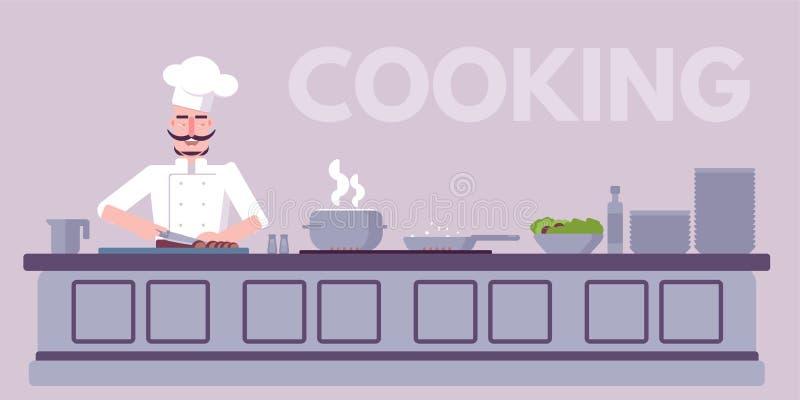 烹饪车间平的传染媒介彩色插图 向量例证